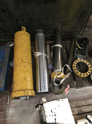 cylinders on pallet ready for repair